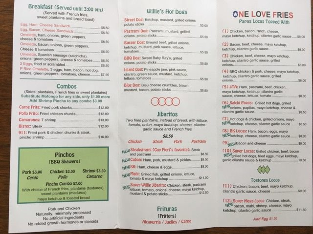 Willies menu 1